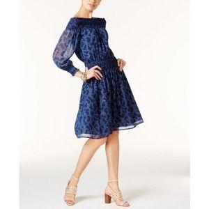 Michael Kors Blue Off The Shoulder Smocked Dress